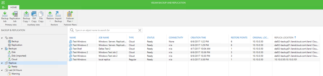 The Replica screen in Veeam under the Backup and Replication tab