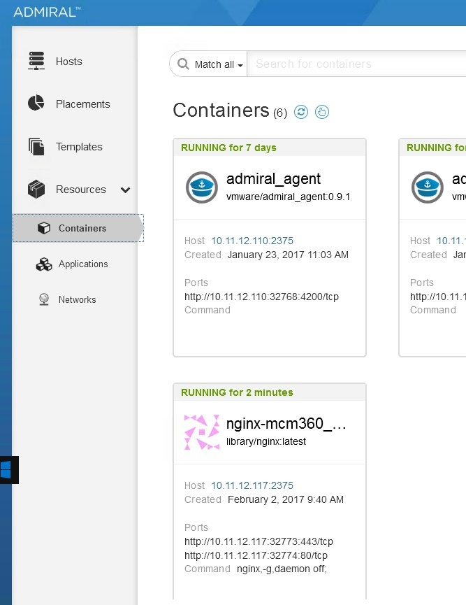 nginx container